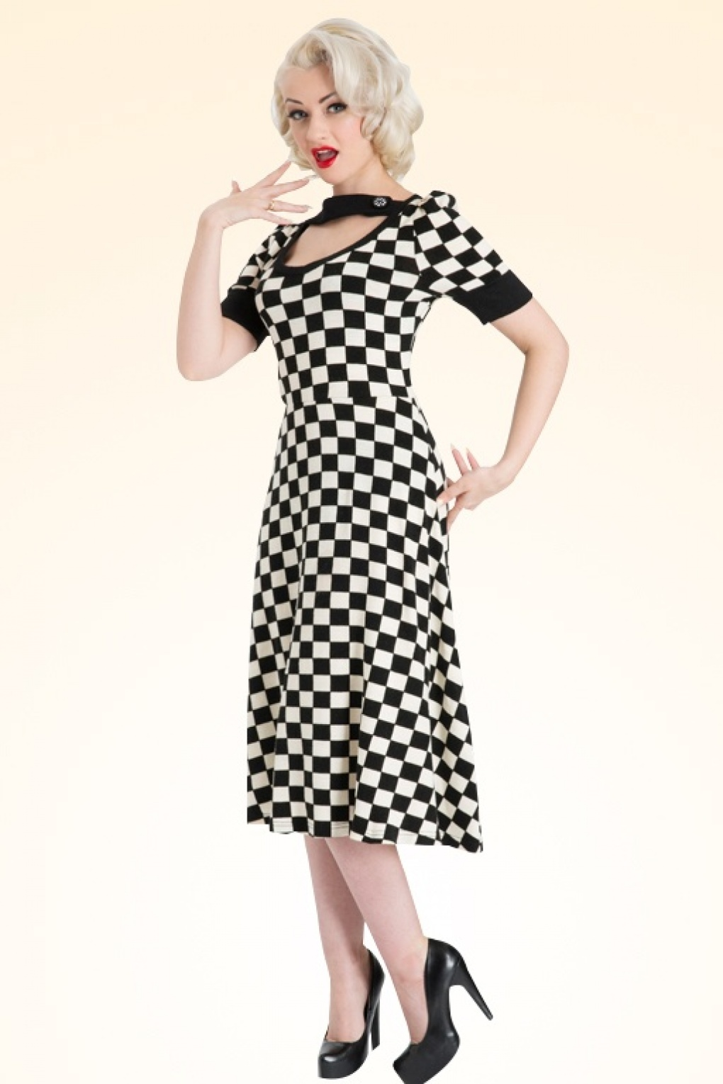 50s Checkered Swing Dress Black And White