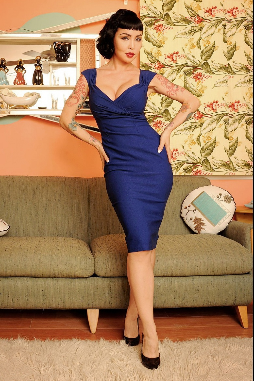 50s Erin Wiggle Dress Royal Blue