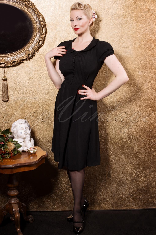 40s dorothy dress in black crepe de chine. Black Bedroom Furniture Sets. Home Design Ideas