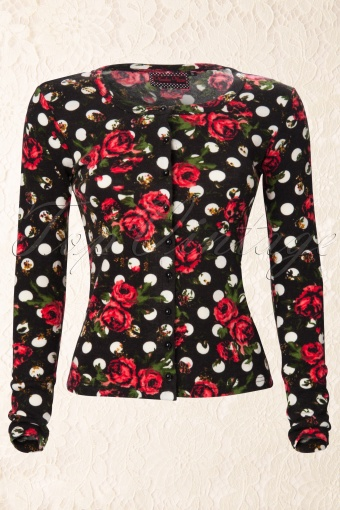 Vixen Cardigan in black roses and dots 01 4261 20121127 0002K