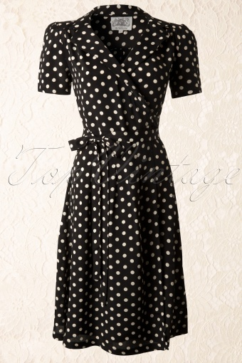 The Seamstress of Bloomsbury Peggy Dress Black Spot Polkadot 104 14 11866 20131112 0005K