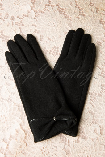 Vintage Vicky  Black Bow Gloves 259 10 11751 20131204 0006W