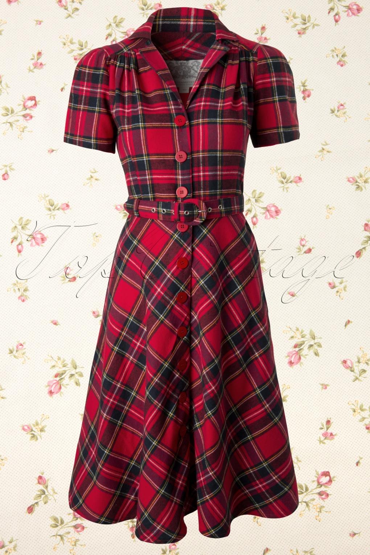 40s lisa tartan dress in red. Black Bedroom Furniture Sets. Home Design Ideas