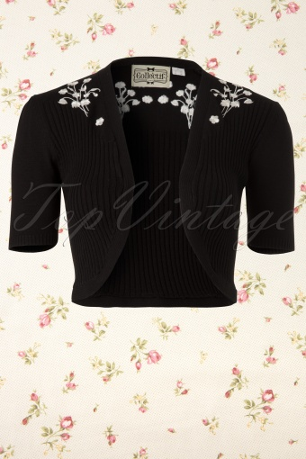 Collectif Clothing  Evelyn Bolero Flowers Black and White 141 10 11992 20131210 0002K