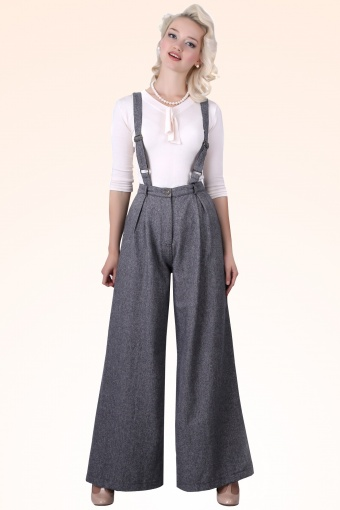 Glenda Herringbone Swing Trousers Navy