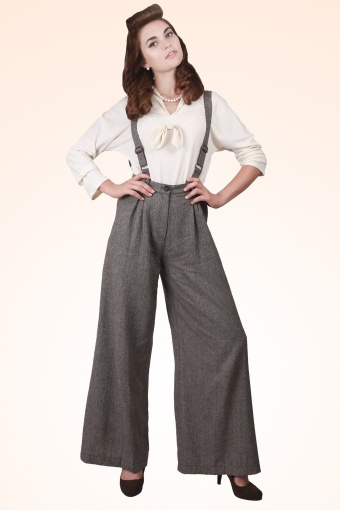 Glenda Herringbone Swing Trousers Brown