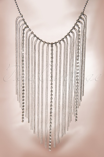 Darling Divine  1920s Swing like the roaring twenties! Silver Short Necklace 11128 20131218 0005W