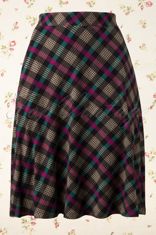 cagney flare a line skirt in tartan green pink. Black Bedroom Furniture Sets. Home Design Ideas