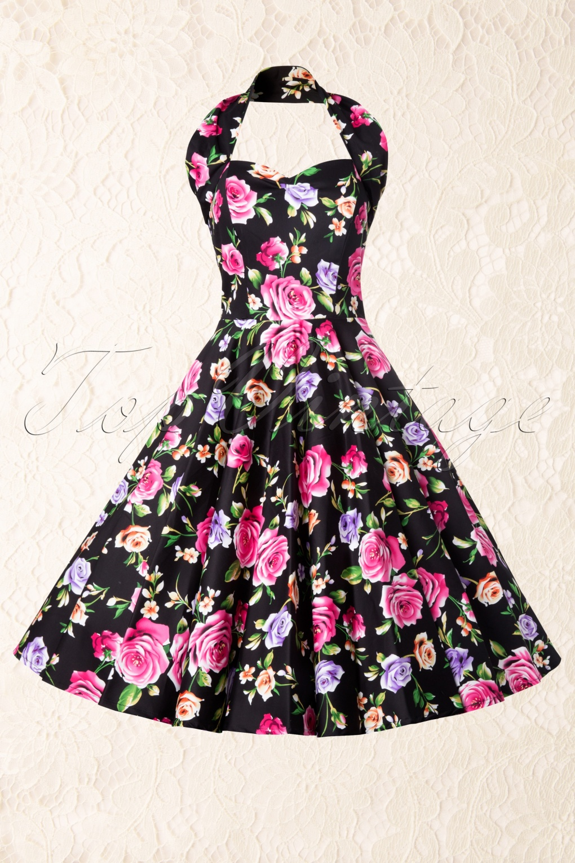 b1f564b29142 50s Retro Floral Black Swing Dress