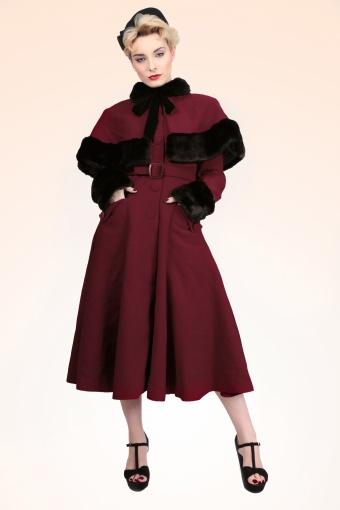 Anastasia Coat Cape Burgundy FrontPlastic Bluckle