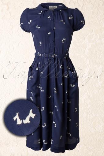 Seamstress of Bloomsbury  Primrose Navy Dog 104 39 11856 20131114 0006K Vergrootglas