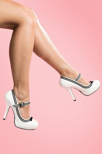 Pinup Couture Shoes  Secretary Mary Jane Velvet Bow White platform pumps 12001 20140120 0002