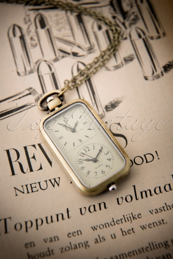 From Paris with love  Vintage Rectangular Pocket Watch Necklace 301 91 12173 20140123 0007W