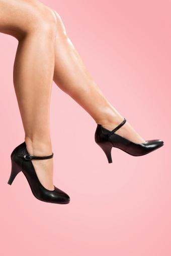 Tamaris  40s Classy Black Ankle Strap Pumps 11821 20140120 0003