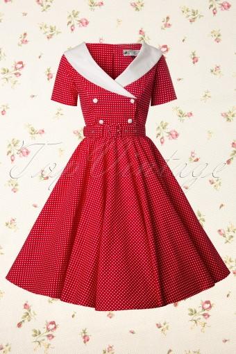 Bunny  Claudia 50s Red Swing Polkadot dress 102 27 12023 20140129 0004W