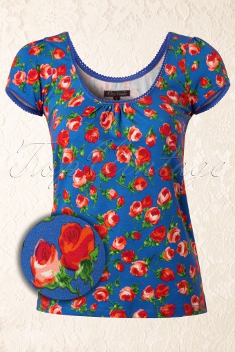 King Louie  Ballet Top Penny Lane French Blue Red Roses 111 39 12344 20140130 0005WV