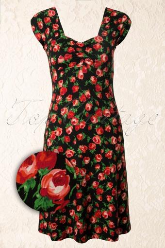 King Louie  Heidi Dress Penny Lane Black Red Roses 107 14 12347 20140130 0003WV