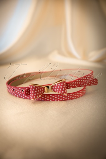 Bettie Page Clothing  Bow Belt Polkadot Red 230 27 12239 20140129 0006W