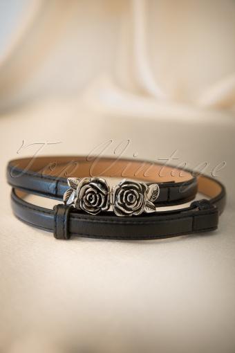 Bettie Page Clothing  Metal Rose Belt Black 230 10 12240 20140129 0004W