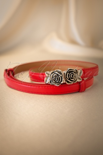 Bettie Page Clothing  Metal Rose Belt Red 230 20 12241 20140129 0008W