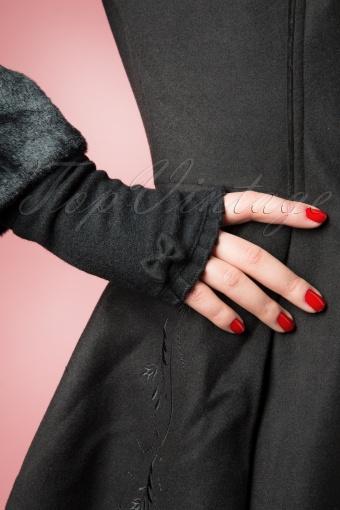 Swoon  50s Cute Bow Wool Cuffs in Black 11855 20140120 0003W
