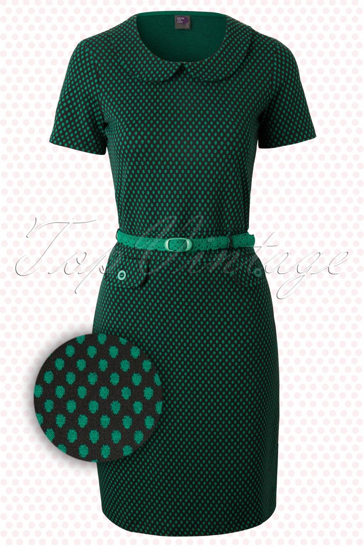 Uitzonderlijk 60s Retro Root A-Line Dress in Green CP23