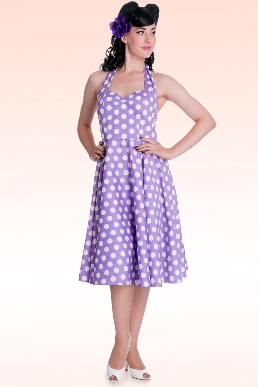 50s Retro Halter 50s Meriam Swing Dress In Polka Purple White