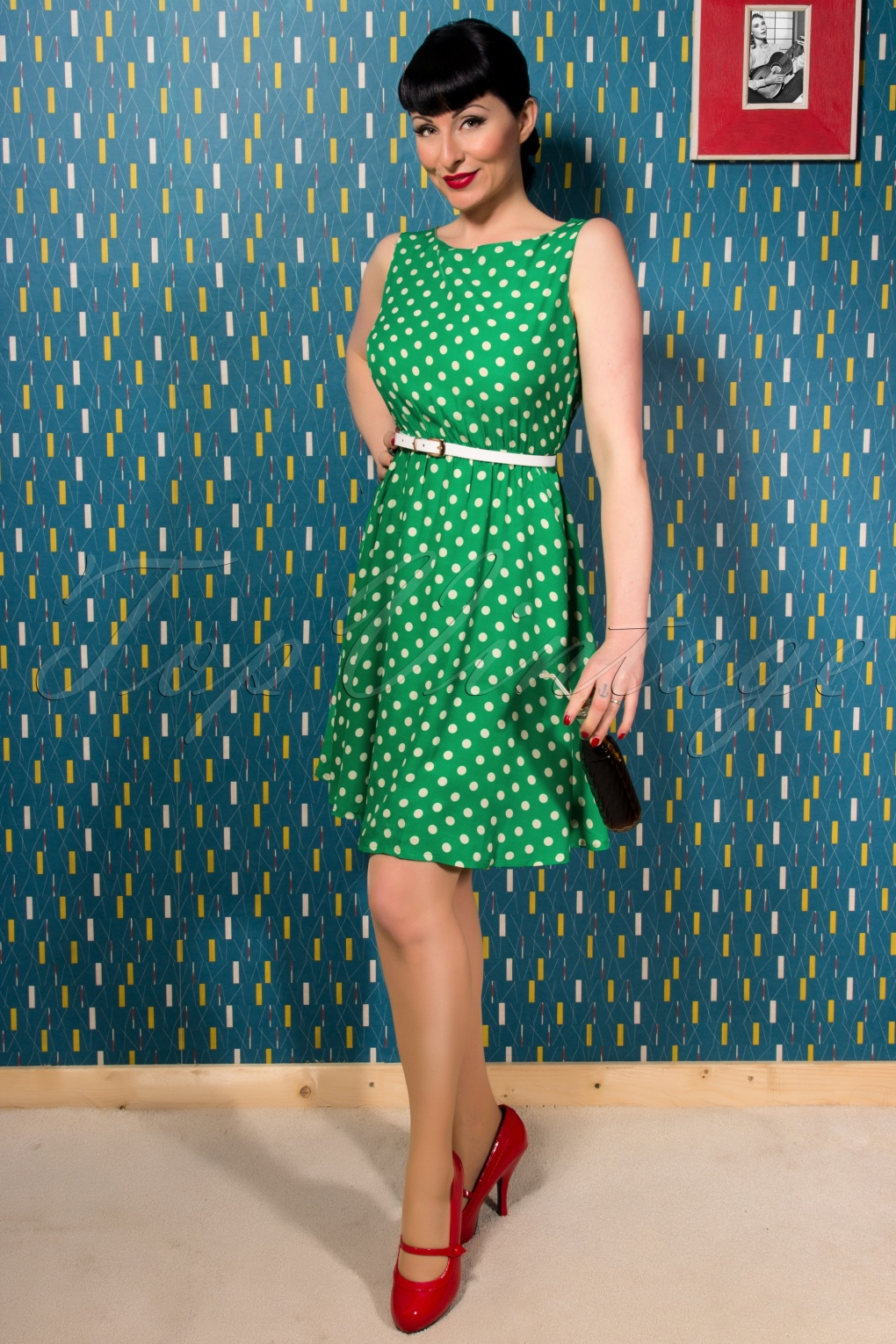 50s Swing Dress in Green with Cream Dots
