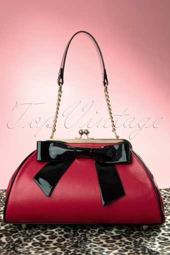 Pinup Couture  Bow Handbag Red and Black 212 10 11931 20140213 0001W