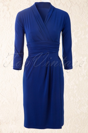 Amy  Miss Dita Faux Wrap Dress in Royal Blue 106 30 12335 20140213 0003W