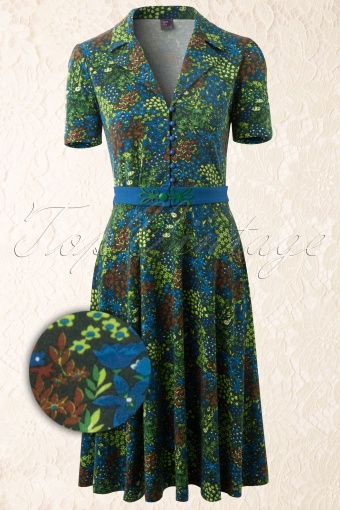 Wow to go!  60s Floral A line Dress Green 104 39 11503 20140213 0004WV
