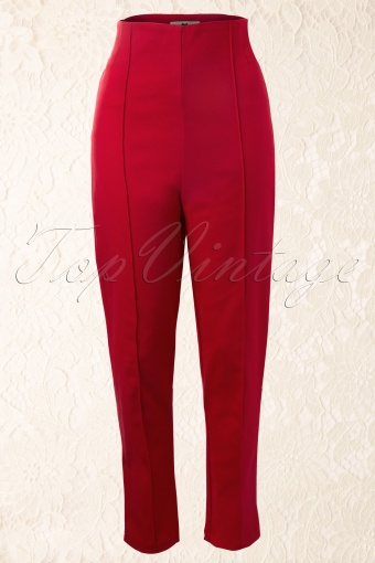 Collectif Clothing  Bonnie Twill Red Pants 131 20 12549 20140217 0004W