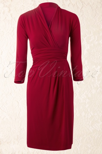 Amy  Miss Dita Faux Wrap Dress in Burgundy 12336 20140217 0003 FrontW