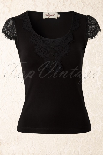 Bettie Page Clothing  Monica Top Black Lace 110 10 12678 20140218 0004W