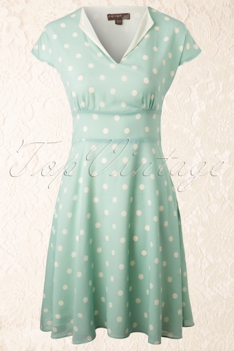 Fever  Duck Egg Polkadot A line Dress 12108 20140221 0006W