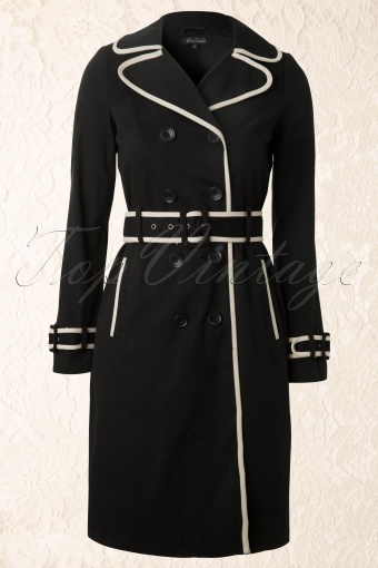 King Louie  60s Trench Coat in Black 151 10 12358 20140218 0002W