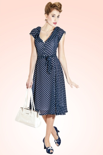 Violet Polka Dot Print Dress BlueV