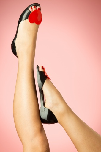 Mel Shoes  60s Heart Fever Raspberry Peeptoe Ballerinas in Black and Red 12333 20140224 0014