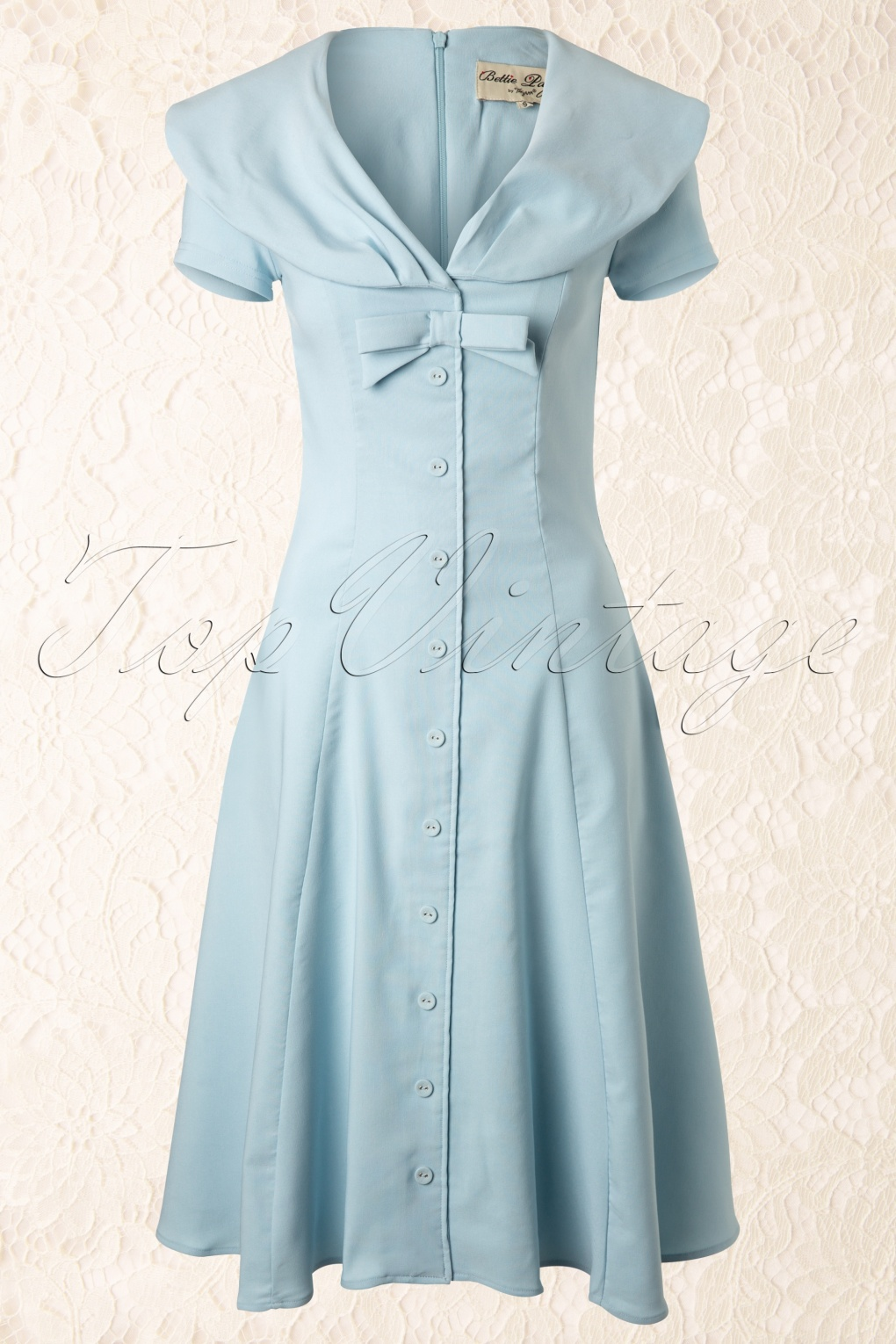 50s Jeannie Baby Blue Bow Swing Dress