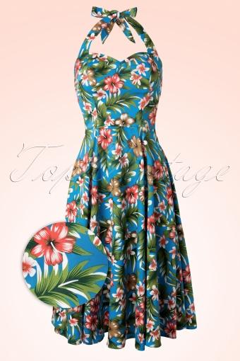 Banned  Floral Blue Swing Dress 102 39 12752 20140227 0007 Front CrossWV