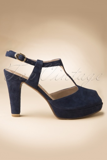 Tamaris  40s Ginger T Strap Peeptoe Pumps in Navy Blue 402 30 11826 20140303 0005W