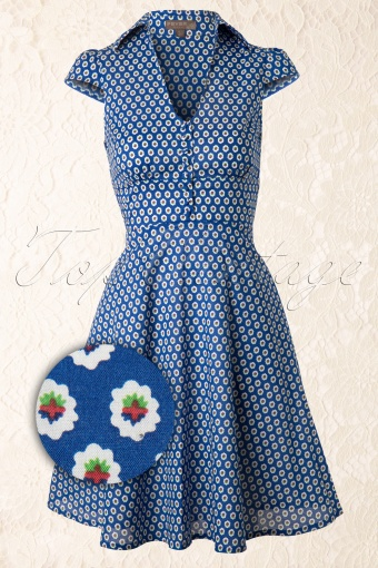 Fever  Blue Flower Shirt Dress  106 39 12822 20140304 0009WV