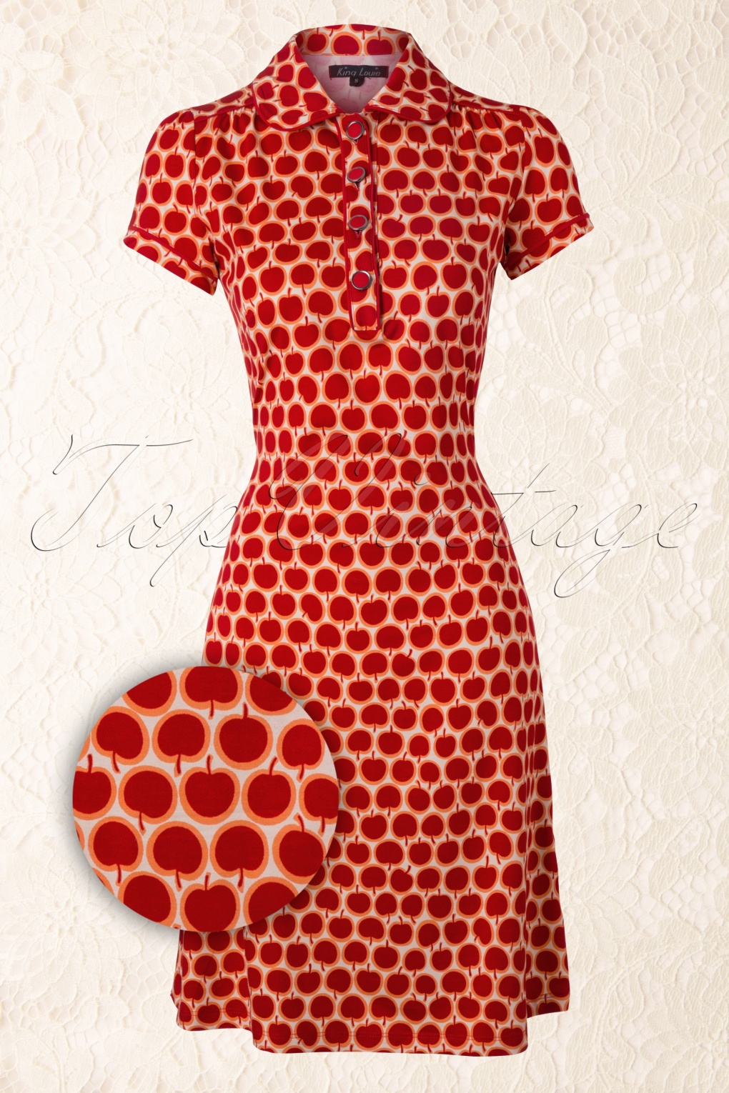 Retro Polo Dress Apple in Red