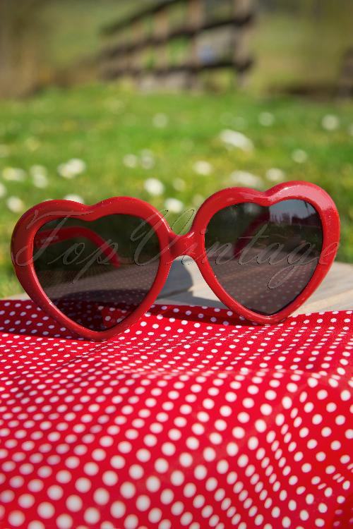 So Retro Heart Sunglasses Red 12909 20140312 0008W