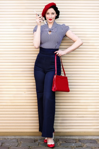 40s franky swing trousers navy for Rockabilly outfit damen