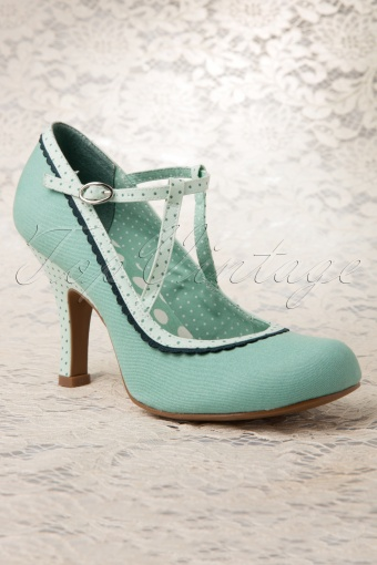 50s Jessica Ankle Strap Pumps in Mint
