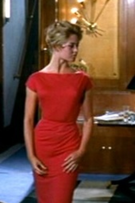Topvintage Exclusive 50s Brigitte Pencil Dress In Red