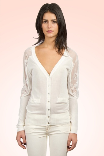 Deby Debo 30s Lace Cardigan in White Peach
