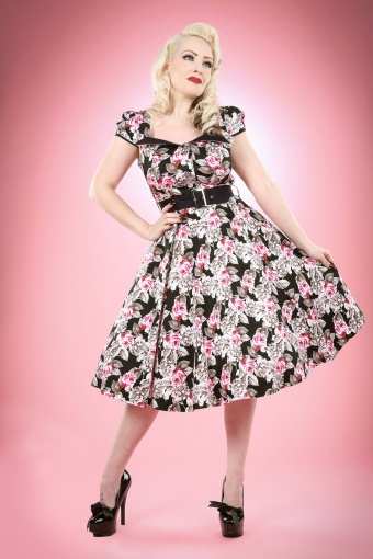 Hearts and Roses Floral Swing Dress 102 14 13122