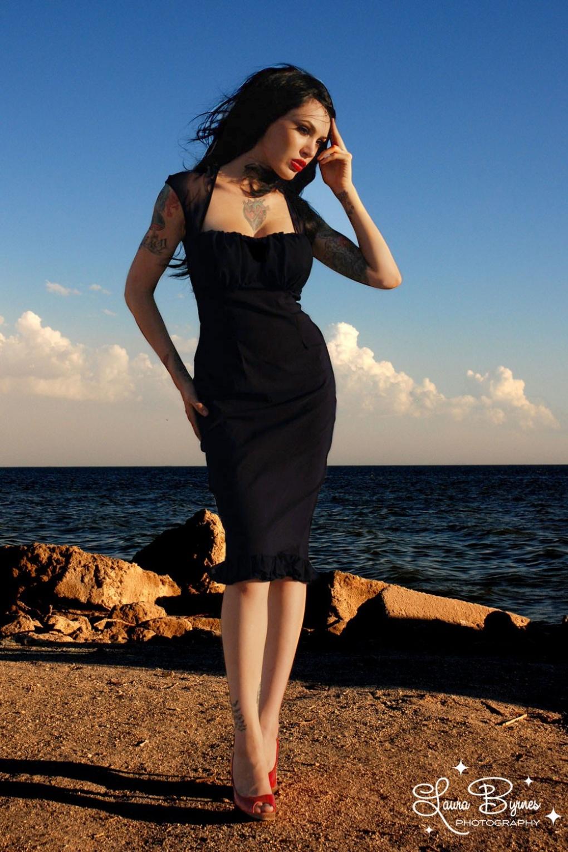 Micheline Dress Black With Black Chiffon Trim